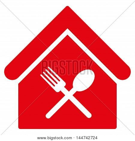 Food Court icon. Glyph style is flat iconic symbol, red color, white background.