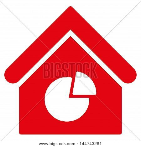 Realty Pie Chart icon. Glyph style is flat iconic symbol, red color, white background.