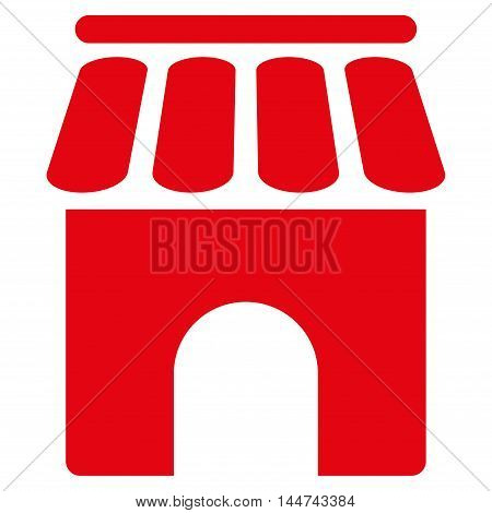 Shop Building icon. Glyph style is flat iconic symbol, red color, white background.