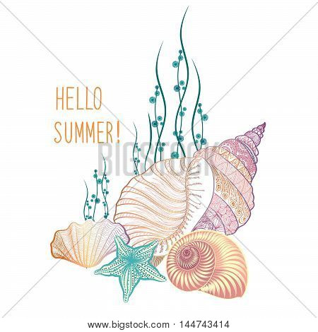 Abstract Summer Background. Summer Holidays Cover With Sea Inhabitants. Hello Summer Doodle Vector I