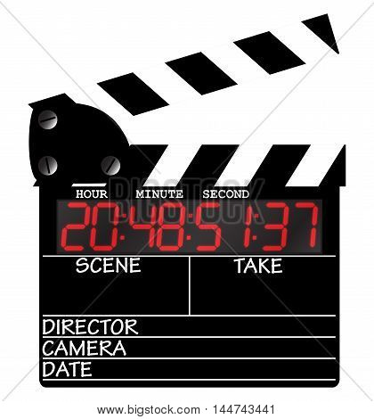 A director's digital clapper board isolated on a white background