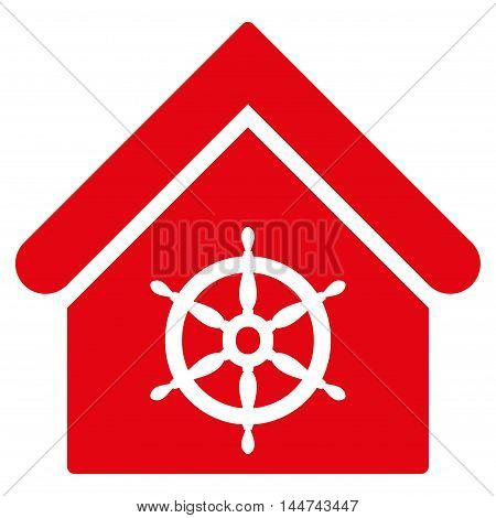 Steering Wheel House icon. Glyph style is flat iconic symbol, red color, white background.