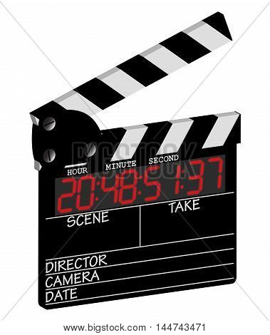 A director's 3d digital clapper board isolated on a white background