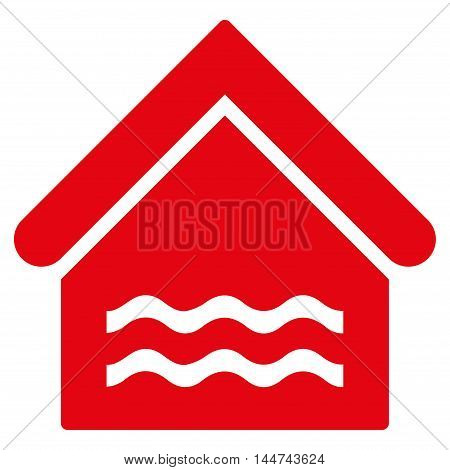 Water Pool icon. Glyph style is flat iconic symbol, red color, white background.