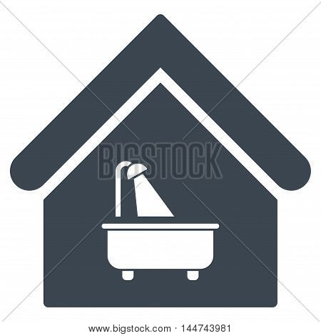 Bathroom icon. Glyph style is flat iconic symbol, smooth blue color, white background.