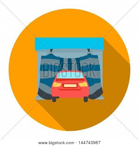 Car wash icon flat style. Single silhouette auto parts icon from the big car flat - stock vector