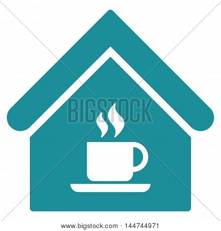 Cafe House icon. Glyph style is flat iconic symbol, soft blue color, white background.