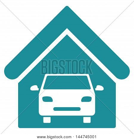 Car Garage icon. Glyph style is flat iconic symbol, soft blue color, white background.