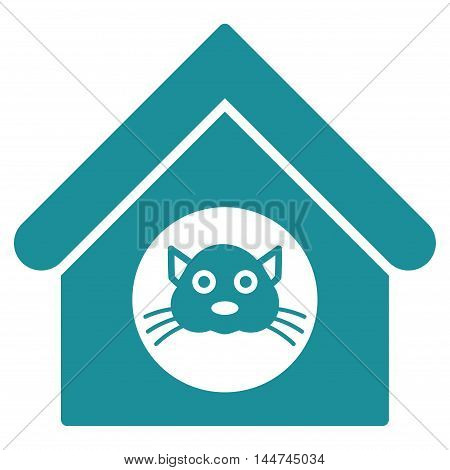 Cat House icon. Glyph style is flat iconic symbol, soft blue color, white background.
