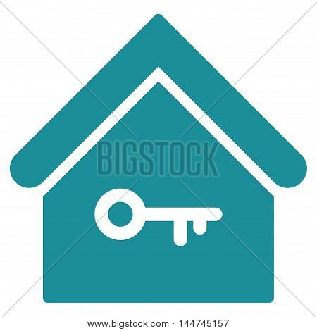 Home Key icon. Glyph style is flat iconic symbol, soft blue color, white background.