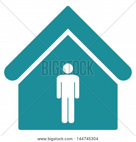 Man Toilet Building icon. Glyph style is flat iconic symbol, soft blue color, white background.