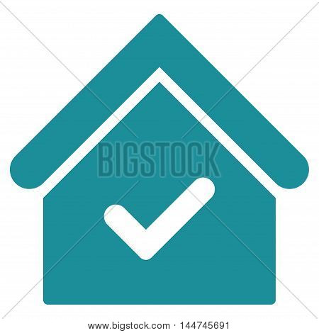 Valid House icon. Glyph style is flat iconic symbol, soft blue color, white background.