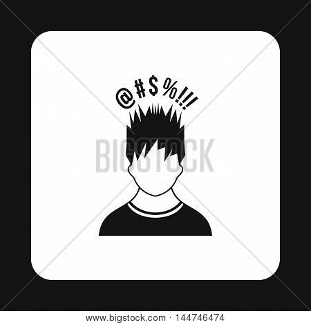 Man with different signs over his head icon in simple style isolated on white background