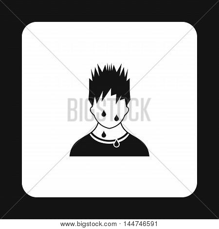 Troubled man icon in simple style isolated on white background