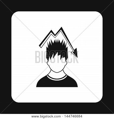 Man with falling graph icon in simple style isolated on white background