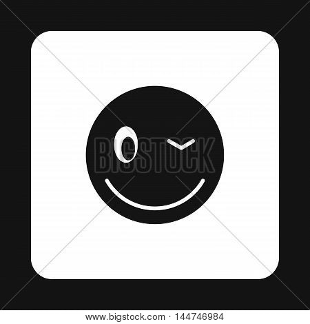 Eyewink emoticon icon in simple style isolated on white background