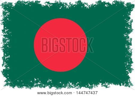 National flag of Bangladesh with distressed edges