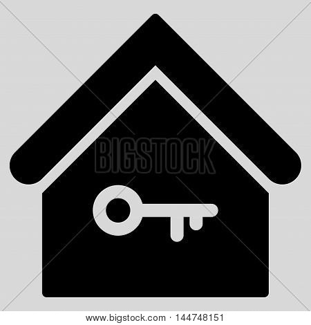 Home Key icon. Vector style is flat iconic symbol, black color, light gray background.