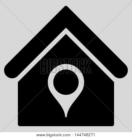 House Location icon. Vector style is flat iconic symbol, black color, light gray background.