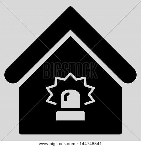 Realty Alarm icon. Vector style is flat iconic symbol, black color, light gray background.