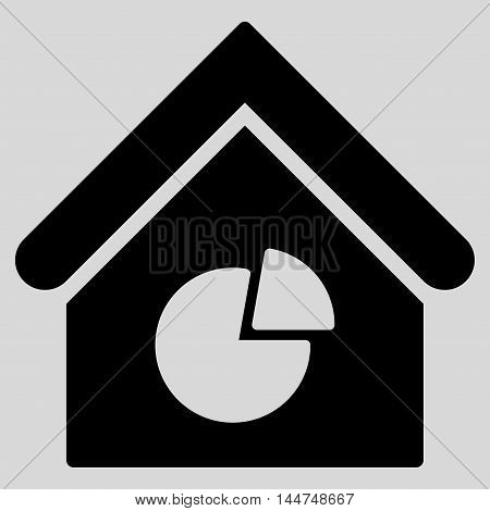Realty Pie Chart icon. Vector style is flat iconic symbol, black color, light gray background.