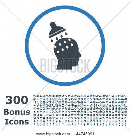 Brain Washing rounded icon with 300 bonus icons. Vector illustration style is flat iconic bicolor symbols, smooth blue colors, white background.