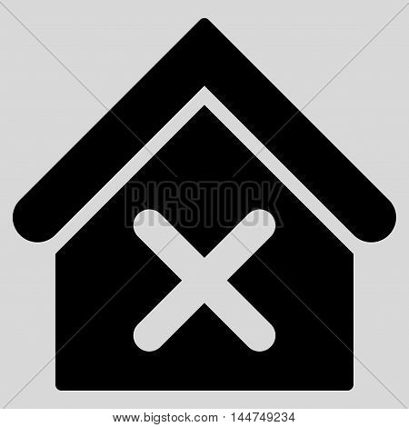 Wrong House icon. Vector style is flat iconic symbol, black color, light gray background.