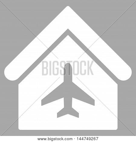 Aircraft Hangar icon. Vector style is flat iconic symbol, white color, silver background.