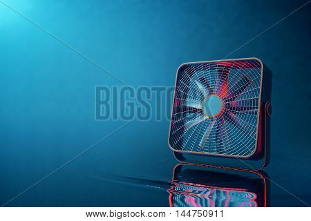 Closeup of red hi-tech fan placed on water with ripple and reflections. Blue background with copy space. 3D Rendering