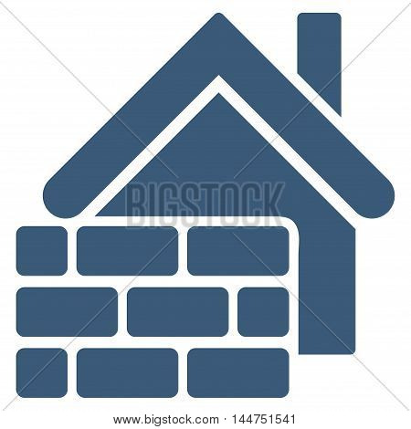 Realty Brick Wall icon. Vector style is flat iconic symbol, blue color, white background.