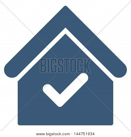 Valid House icon. Vector style is flat iconic symbol, blue color, white background.