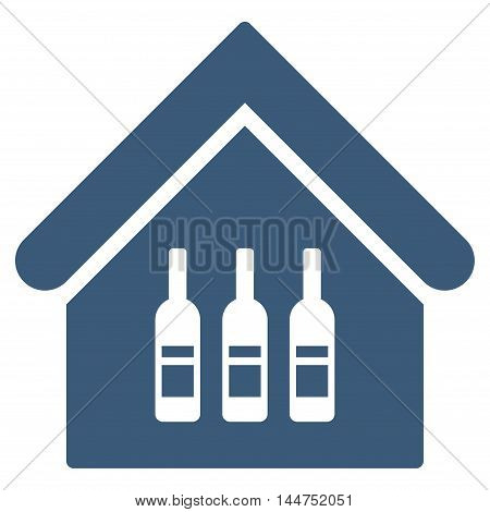 Wine Bar icon. Vector style is flat iconic symbol, blue color, white background.