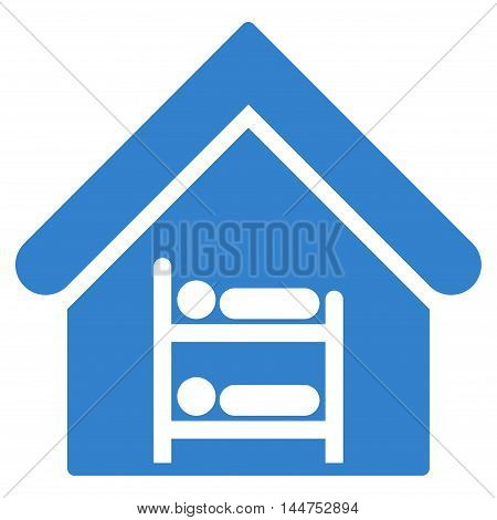 Hostel icon. Vector style is flat iconic symbol, cobalt color, white background.