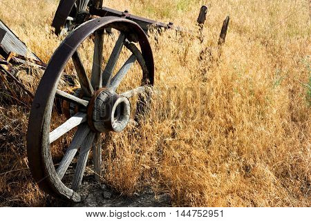 Wagon wheel axels lay rotting in a field. Wheels have metal staves and wooden hubs and spokes. Wagon lays in a field in Wyoming.