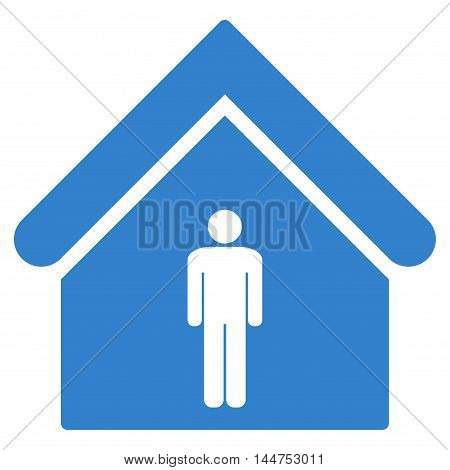 Man Toilet Building icon. Vector style is flat iconic symbol, cobalt color, white background.