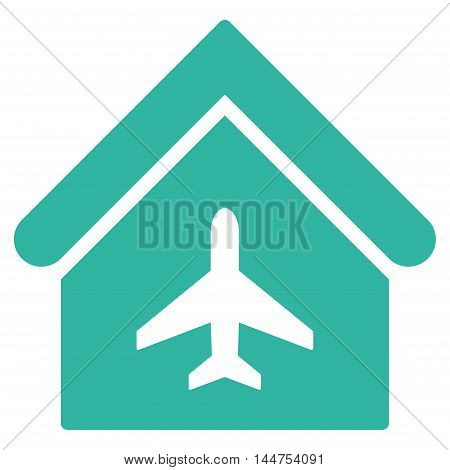 Aircraft Hangar icon. Vector style is flat iconic symbol, cyan color, white background.