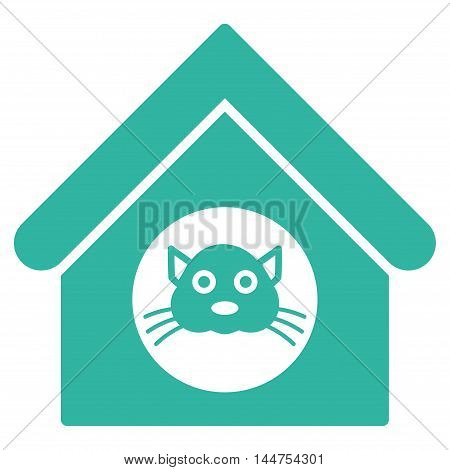 Cat House icon. Vector style is flat iconic symbol, cyan color, white background.
