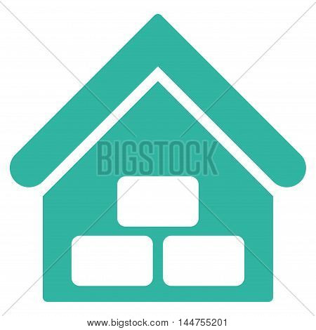 Warehouse icon. Vector style is flat iconic symbol, cyan color, white background.