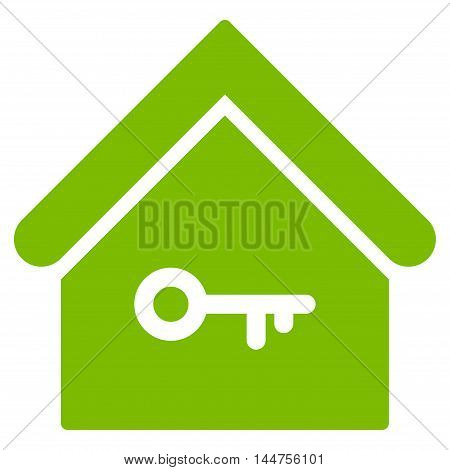 Home Key icon. Vector style is flat iconic symbol, eco green color, white background.