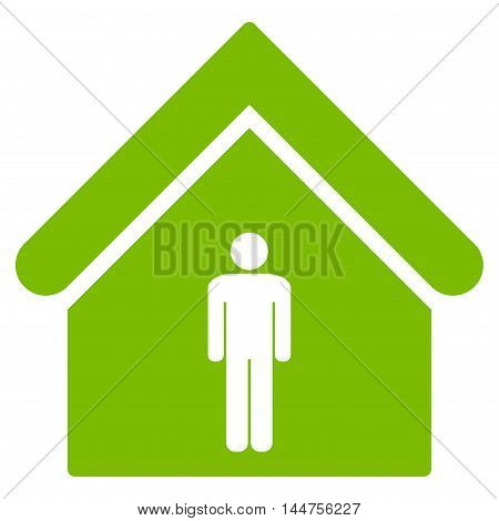 Man Toilet Building icon. Vector style is flat iconic symbol, eco green color, white background.