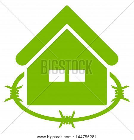 Prison Building icon. Vector style is flat iconic symbol, eco green color, white background.