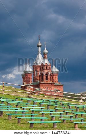 TVER OBLAST RUSSIA - JUNE 02, 2016: Olgas ancient orthodox church of the 17th century at the source of Volga river Tver oblast Russia in June 2016