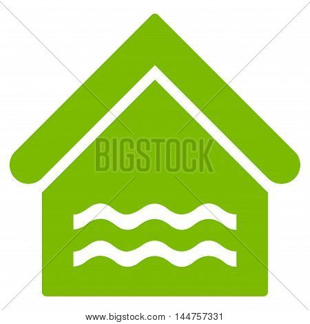 Water Pool icon. Vector style is flat iconic symbol, eco green color, white background.