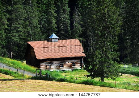 Old log barn has been restored by adding a new tin roof. Barn sits in the foothills of the Absaroka Mountains in Montana. Country lane wanders across front.