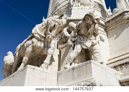 LISBON, PORTUGAL - October 15, 2015: Detail of the base of the monument to the Marquis of Pombal on October 15, 2015 in Lisbon, Portugal