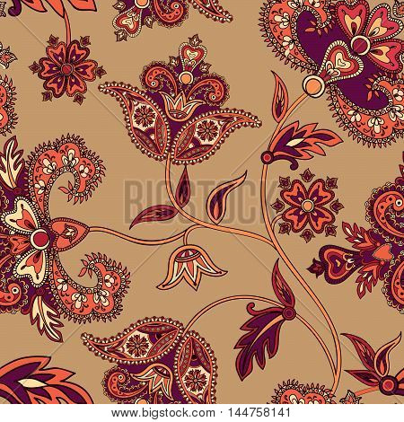 Floral Wave Seamless Pattern. Flower Background. Floral Tile Ornamental Texture With Leaves. Spring
