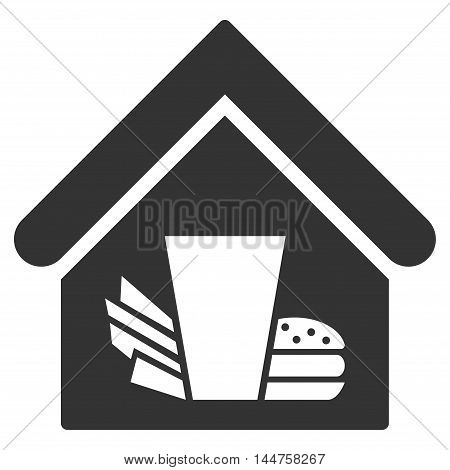 Fastfood Cafe icon. Vector style is flat iconic symbol, gray color, white background.