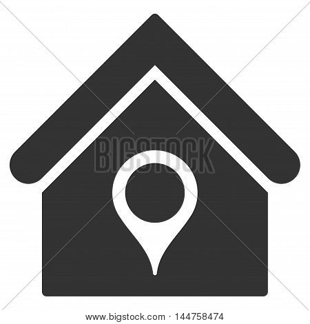 House Location icon. Vector style is flat iconic symbol, gray color, white background.