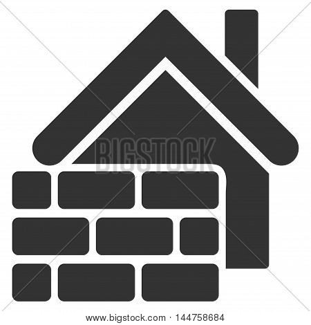 Realty Brick Wall icon. Vector style is flat iconic symbol, gray color, white background.