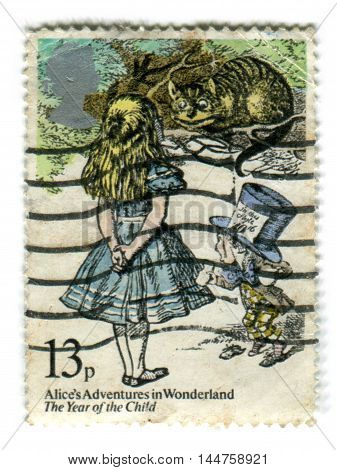 UNITED KINGDOM - CIRCA 1979: A used postage stamp printed in Britain showing Alice in Wonderland by Lewis carroll circa 1979